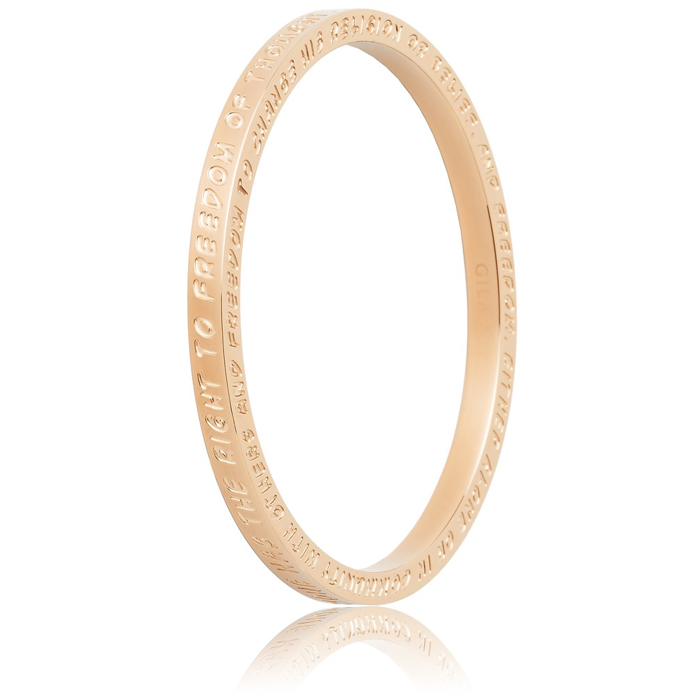 To Gilardy Human Rights Collection Bangle Rosegold Closed