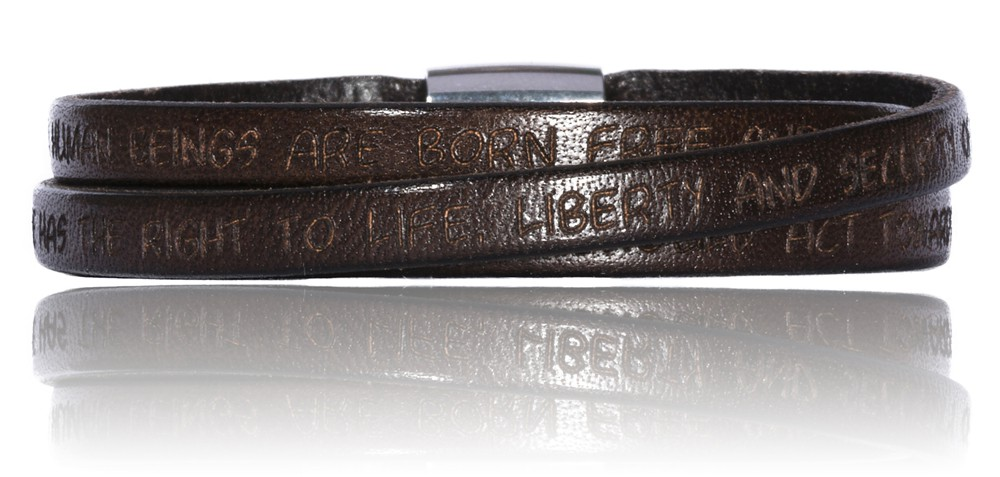 To Gilardy Human Rights Collection Leather Bracelet Darkbrown