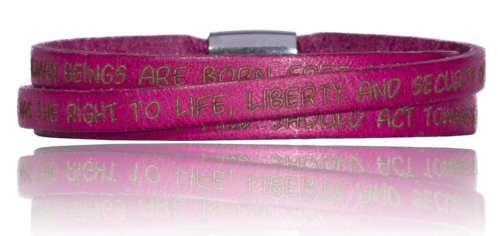 To Gilardy Human Rights Collection Leather Bracelet Fuchsia
