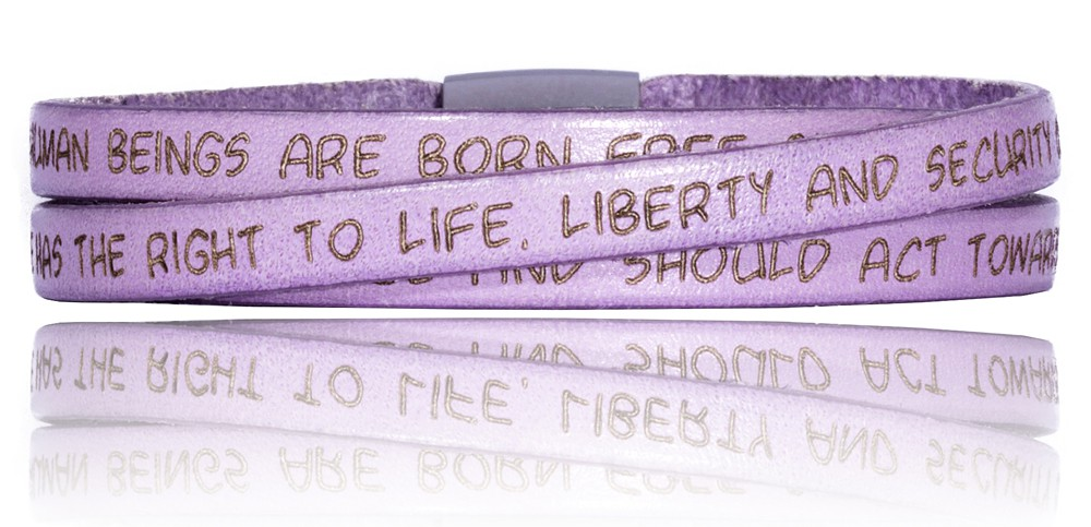 To Gilardy Human Rights Collection Leather Bracelet Lilac