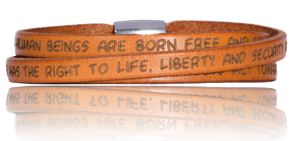 To Gilardy Human Rights Collection Leather Bracelet Orange
